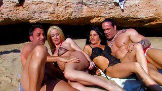 best of Cock suck on beach blonde white