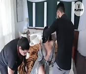 Two squirting pussies one hard cock.