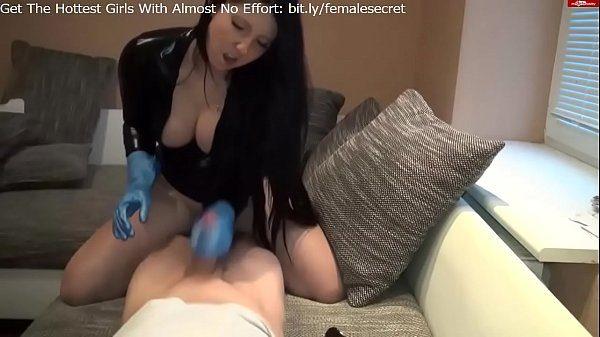 Handjob rubber gloves messy